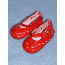 "|Shoe - Patent Cutwork - 3 1_4"" Red"