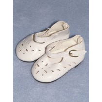 "|Shoe - Patent Cutwork - 3 1_4"" White"