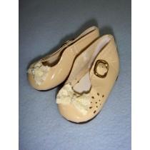 " Shoe - Patent w_Lace Bow & Cutouts - 3"" Ecru"