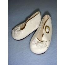 " Shoe - Patent w_Lace Bow & Cutouts - 3"" White"