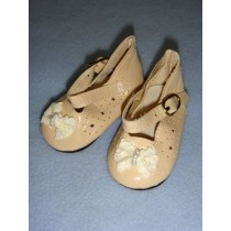 " Shoe - Patent w_Lace Bow & Star Cutouts - 3"" Ecru"