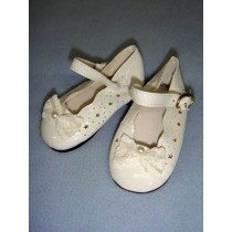 " Shoe - Patent w_Lace Bow & Star Cutouts - 3"" White"