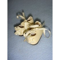 "|Shoe - Satin Tie w_Rosette - 1 1_2"" Cream"