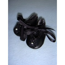 "|Shoe - Satin Tie w_Rosette - 1 3_4"" Black"