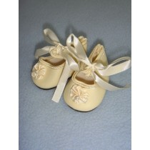 "|Shoe - Satin Tie w_Rosette - 1 3_4"" Cream"