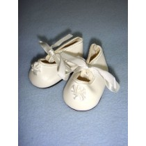 "|Shoe - Satin Tie w_Rosette - 2 1_4"" White"