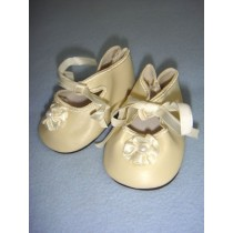 "|Shoe - Satin Tie w_Rosette - 3 1_2"" Cream"
