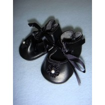"|Shoe - Satin Tie w_Rosette - 3 1_4"" Black"