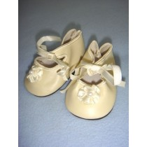 "|Shoe - Satin Tie w_Rosette - 3 1_4"" Cream"