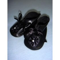 "|Shoe - Satin Tie w_Rosette - 3 3_4"" Black"