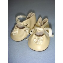 "|Shoe - Satin Tie w_Rosette - 3 3_4"" Cream"