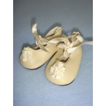 "|Shoe - Satin Tie w_Rosette - 3"" Cream"