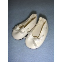 "|Shoe - Slip-On w_Ribbon - 2 3_8"" White"