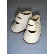 "|Shoe - Two-Strap Patent - 2 1_4"" White"
