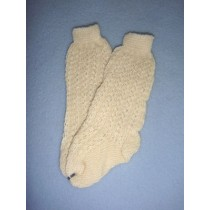 "|Sock - Cotton Crochet w_Design - 18-20"" Ivory (4)"