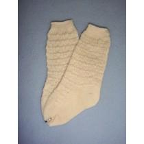 "|Sock - Cotton Crochet w_Design - 18-20"" Ivory (4)"