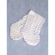 "|Sock - Cotton Crochet w_Design - 18-20"" White (4)"