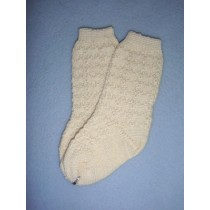 "|Sock - Cotton Crochet w_Design - 21-23"" Ivory (6)"