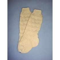 "|Sock - Cotton Crochet w_Design - 21-24"" Ivory (6)"
