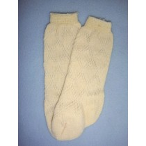 "|Sock - Fancy Diamond Knee-High - 18-20"" Ivory (4)"