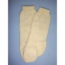 "|Sock - Fancy Diamond Knee-High - 18-20"" Ivory (4)"