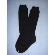 "|Sock - Knee-High Cotton - 15-18"" Black (2)"