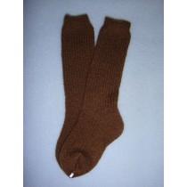 "|Sock - Knee-High Cotton - 21-24"" Dark Brown (6)"