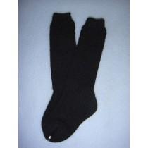 "|Sock - Knee-High Cotton - 24-26"" Black (8)"