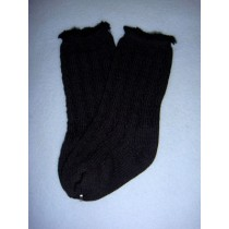 "|Sock - Knee-High Cotton Crochet - 18-20"" Black (4)"