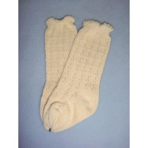 "|Sock - Knee-High Cotton Crochet - 18-20"" Ivory (4)"
