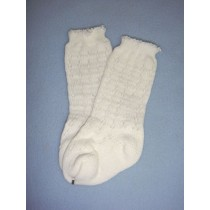"|Sock - Knee-High Cotton Crochet - 18-20"" White (4)"