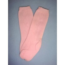 "|Sock - Knee-High w_Design - 18-20"" Pink (4)"