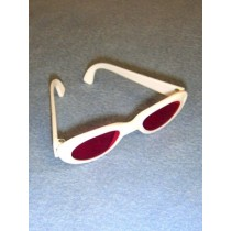 "|Sunglasses - 3 1_4"" White w_Pink Lens"