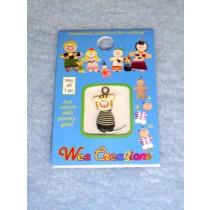 |WC Cat Pet Charm - White w_Black Striped Shirt