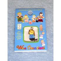 |WC Dog Pet Charm - Yellow w_Brown Ears & Blue Shirt