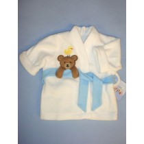 "|White Bath Robe w_Applique - 19-21"" Dolls"