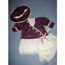""" Vee's Victorian 18"""" Purple Taffeta & White Lace Dress w/Bloomers & Bonnet"""