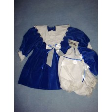 "|Vee's Victorian 20"" Blue Velvet Dress w/Bloomers & Hat"
