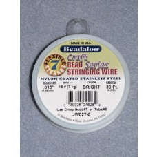 """7 Strand Beading Wire - .015"""" (.38 mm) Bright - 30 ft spool"""