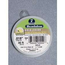 """7 Strand Beading Wire - .015"""" (.38 mm) Gold - 30 ft spool"""