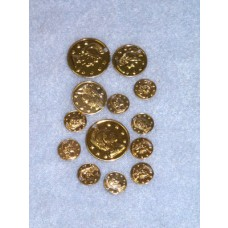 Charm - Coin - Assorted Sizes Gold