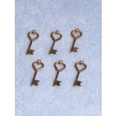 "Charm - Gold Key w_Heart-3_4"" Pkg_6"