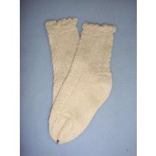 "|Anklet - Silk Patterned - 18-20"" Cream (4)"
