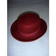 " Hat - 100% Wool Felt Flat Top - 13"" Bordeaux"