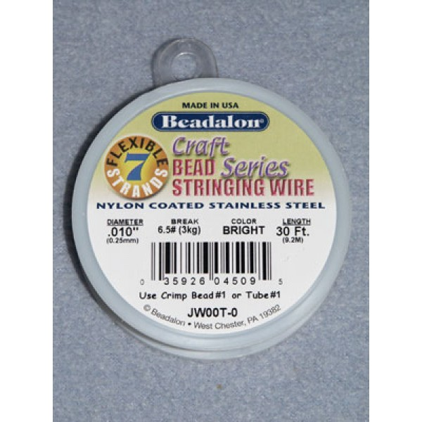 """7 Strand Beading Wire - .010"""" (.25 mm) Bright - 30 ft spool"""