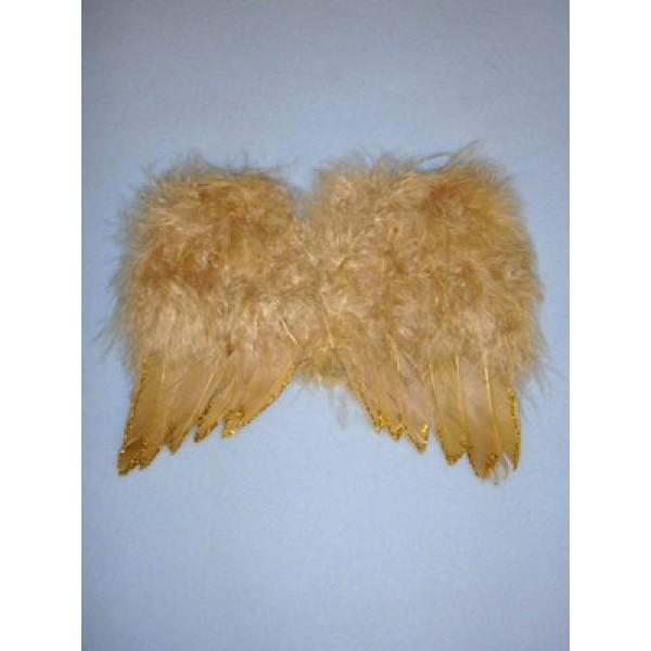 Angel Feather Wings - Tan w_Gold Glitter