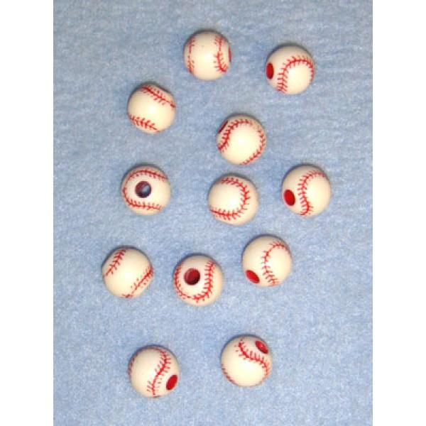 Bead - Baseball - 12mm White Pkg_12