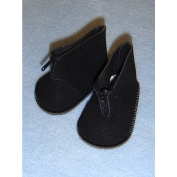 "Boot - Ankle w_Zipper - 3"" Black Suede"