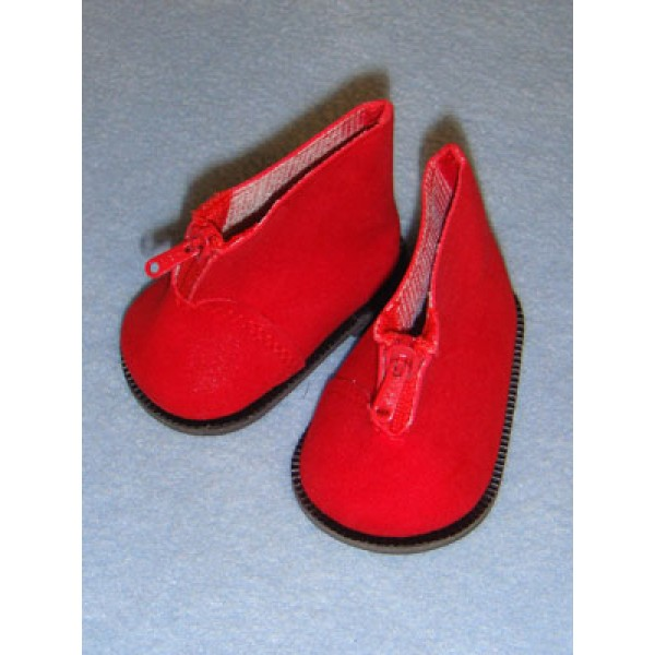 """Boot - Ankle w_Zipper - 3"""" Red Suede"""