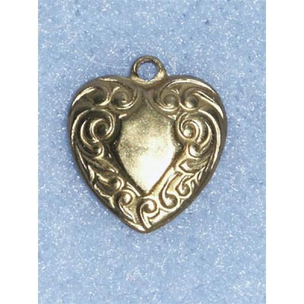 """Charm - Brass Heart - 1_2"""" Pkg_6"""